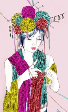 Girl with yarn on head, knitting -- I'd do it if I could! Nice colors ;)