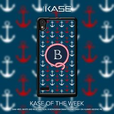 """Red, white and blue nautical B monogram smartphone case"" by the artist Daw"