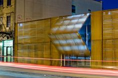 Manhattan firm Andre Kikosi Architect installed a folding Corten steel façade to transform this disused New York warehouse into a market and music venue. Architecture Details, Interior Architecture, Interior Design, Lodge Style, Corten Steel, Dezeen, Wood Glass, Commercial Interiors, Prefab