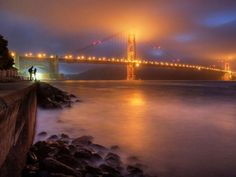 Golden Gate at foggy night
