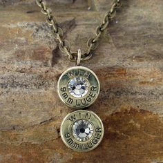 Winchester Bullet Jewelry - Bullet Necklace - 9mm - Crystal