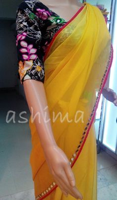 Code:2011161 - Shaded Chiffon Saree With Mirror Work Border, Price INR:7590/-