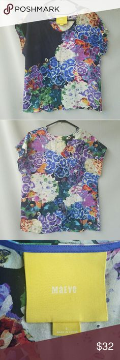 Anthropologie: Mauve Silk Floral Top Absolutely gorgeous! Black part on front slightly sheer creating a really cool look! Excellent condition  Feel free to ask me any additional questions! Bundles 3+ 15% off. Happy Poshing! No trades, or modeling. Anthropologie Tops