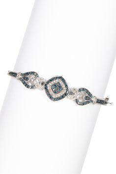 Two-Tone Blue & White Diamond Bangle
