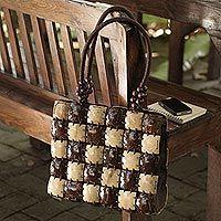 Coconut shell handbag, 'Natural Chic'