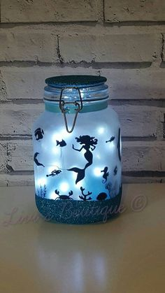 Night light, mood lighting, mermaid in a jar, fairy lights, large jars perfect for kids night light, garden light, around the home, lamp