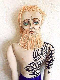 Blonde Beard Doll with tattoo Textile doll Rag от RockandDolls, $100.00