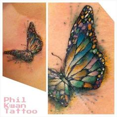 Water colour butterfly tattoo.