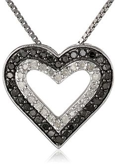 Sterling Silver 1/2cttw Black and White Diamond Heart Pendant Necklace, 18″	by Amazon Curated Collection - See more at: http://blackdiamondgemstone.com/jewelry/necklaces/pendants/sterling-silver-12cttw-black-and-white-diamond-heart-pendant-necklace-18-com/#sthash.uRDviQMy.dpuf
