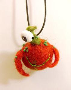 little wet felted monster pendant (No4)