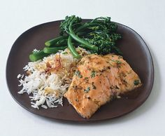 Lime- and Honey-Glazed Salmon with Basmati and Broccolini from Epicurious.com #myplate #protein #veggies
