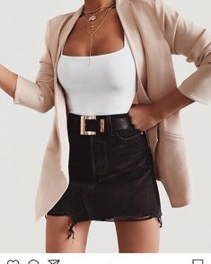 black denim skirt white top pink blazer jacket outfit 24 Must-Have Cute Outfits Date Night Outfits To Wear NOW! Cute Casual Outfits, Girly Outfits, Stylish Outfits, Casual Bags, Classy Outfits For Teens, Beach Outfits, White Outfits, Casual Shirts, Mode Outfits