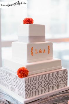 lavender and orange square four tiered wedding cake by Sweet Cakes by Rebecca Cupcakes, Cupcake Cakes, Pretty Cakes, Beautiful Cakes, Wedding Trellis, Wedding Cake With Initials, Just In Case, Just For You, Square Wedding Cakes