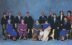 December 21, 1984:  Princess Diana in a group portrait with Prince Harry's six godparents with various family members :  (back L to R) Lady Sarah Armstrong-Jones, Gerald Ward, Bryan Organ, Prince  Andrew, Lady Vestey and Carolyn Bartholomew following his christening at St. George's Chapel, Windsor.