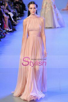 2015 High Neck Prom Dresses Pleated Bodice A-Line Chiffon Sweep Train $146.99 STPYNMJ5NC - StylishPromDress.com
