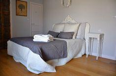 Chambre grise - Attention à la couleur du parquet !
