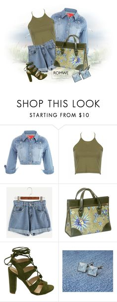 Blue denim shorts by styledonna on Polyvore featuring moda and denimshorts