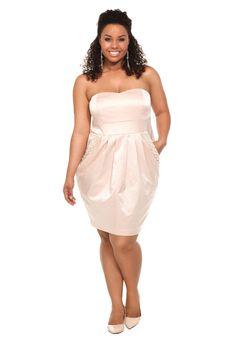 $75 - Torrid Plus Size Blush Snake Jacquard Strapless Dress - Really cool snake skin dress in blush!