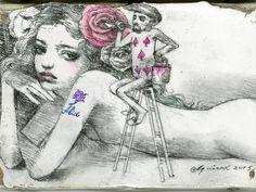 宇野亞喜良が同展のために描き下ろした原画を出展 Japanese Artwork, Pin Art, Sketchbook Inspiration, Face Art, Art Forms, Art Inspo, Illustration, Art Prints, Drawings