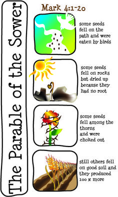 Matthew 13:1-23; Mark 4:1-20; Like 8:4-15: Parable of the Sower;  Illustrations
