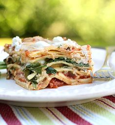 spinach and goat cheese lasagna-already in my oven for dinner tonight! (hand-rolled pasta and mozzarella omitted; with the addition of fresh mushrooms and sliced cooked chicken breast)