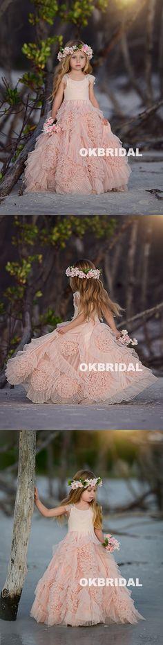Beaded Tulle Flower Girl Dresses, Popular Little Girl Dresses, KX798 #flowergirldresses #okbridal