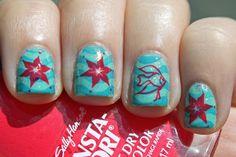 beaches and fish nail disigns | Sally Hansen Sonic Boom + Mash 35 (starfish) and SH19 (fish)