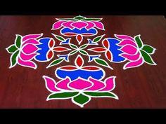Latest Lotus Rangoli with Simple Rangoli Designs Images, Rangoli Designs With Dots, Rangoli With Dots, Beautiful Rangoli Designs, Lotus Rangoli, Indian Rangoli, Rangoli Borders, Rangoli Border Designs, Cute Love Heart Images