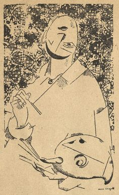 Marc Chagall, self-portrait drawing, published in The Literary Review, edited by Ozer Warshavsky, in Paris, 1926.