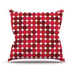 "KESS Original ""Noblefur Red"" Dots Outdoor Throw Pillow"