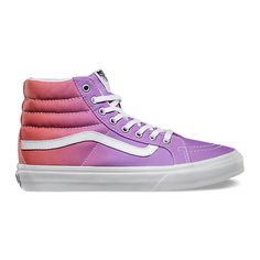 Ombre Sk8-Hi Slim ($60) ❤ liked on Polyvore featuring shoes, sneakers, vans, high top lace up shoes, lacing sneakers, high top shoes, ombre sneakers and hi tops