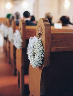 church jewelry … - Home Page Wedding Pews, Wedding Chairs, Fall Wedding, Our Wedding, Pew Decorations, Church Wedding Decorations, Church Flowers, Burgundy Wedding, Flower Bouquet Wedding