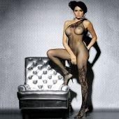 Bodystocking F203 de Obsessive lingerie, de color Negro con rejilla y estampado en escote y piernas con motivos florales. Talla S/M.