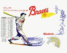 1955 Milwaukee Braves/Gimbels promo poster and schedule.