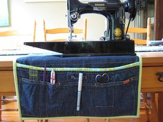 I love this sewing station organizer, made from a denim skirt. Many great denim projects on this site.