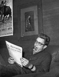 James Dean the Giant yawning while reading