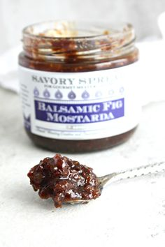 Balsamic Fig Mostarda - figs simmered in a balsamic reduction with mustard spice.  Perfect for cheese plates, roast beef, pork and sandwiches.  Shop online @ http://www.wozzkitchencreations.com/collections/gourmet-food-online/products/balsamic-fig-mostarda-savory-spread
