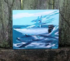 Modern Boats Coastal Painting Art By Scott D Van by MySalvagedPast
