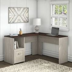 Beachcrest Home Cyra L Shaped Desk & Reviews | Wayfair Home Office Desks, Home Office Furniture, Furniture Deals, Farmhouse Desk, Modern Farmhouse Decor, 2 Shelf Bookcase, Privacy Panels, Desk Storage, Desk With Drawers