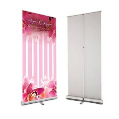 Retractable Party Banner & Stand Pink ORCHIDS, Custom Wedding Sign, Flowers Pop up Wedding Banner, Event Entrance sign custom x