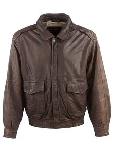 Vintage Wilsons Vintage Aviator Jacket - L, Regular Fit, size Size L . Colour Dark Brown and made from 100% Cowhide Leather with with Ecru Lining and and YKK Front Zip Fastening fastening.