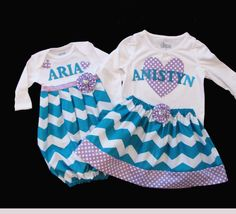 3559659806039 with monogrammed infant layette in teal chevron and matching monogrammed sister  OUTFIT. Nicole Herlihy · Snugglebug baby