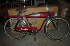 Vintage 1948 Roadmaster Luxury Liner Cruiser Bicycle Balloon tires Double Spring Fork Horn Tank repro Bike