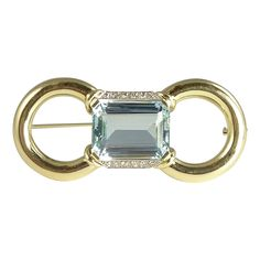 Magnificent Mid-Century 15.0ct Aquamarine Diamond & 14kt Gold Brooch from crystalriver on Ruby Lane