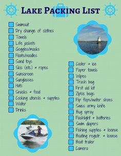 What to Pack for a Day at the Lake With Kids (Free Printable!) - Trips With Tykes - What to Pack for a Day at the Lake With Kids - Packing List Beach, Packing List For Travel, Packing Lists, Vacation Packing, Weekend Packing, Cruise Packing, Boating Tips, Boating Fun, Summer Vacation Spots