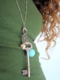 Elegance-Antique Skeleton Key Necklace with vintage jewelry parts and charms