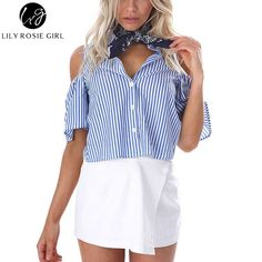 Buy now Blue Striped Off Shoulder Back Cross Hollow Out Women Blouse Backless Sexy Party Tops Short Shirts Summer 2016 Blusas Feminina just only $10.99 with free shipping worldwide  #womanblousesshirts Plese click on picture to see our special price for you