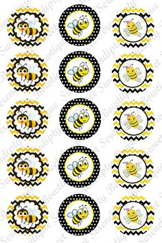 Digital Bottle Cap Images- Cute Bees with Chevron Background