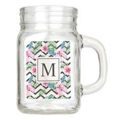 Tropical Floral Wedding Monogram | Mason Jar - monogram gifts unique design style monogrammed diy cyo customize