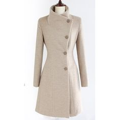 Beige Women Wool Blend Winter Fashion Slim Fitting Single-Breasted One... ($34) via Polyvore